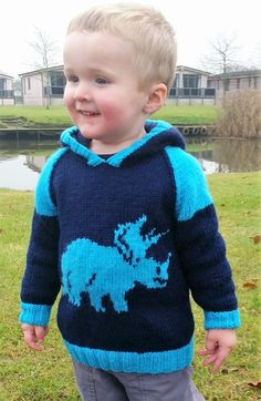 Dinosaur Child's Hoodie Triceratops Knitting von iKnitDesigns