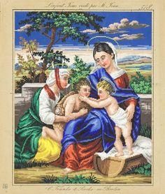 L'enfant Jesus visité par St.Jean Vintage Cross Stitches, Beaded Bags, Needlepoint, Needlework, Berlin, Textiles, Tapestry, Hand Painted, Internet