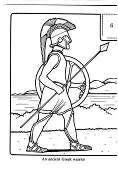 An ancient Greek warrior - Colouring sheets