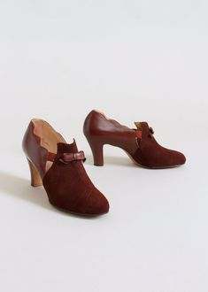 Vintage 1930s Auburn Suede and Leather Shoes NOS