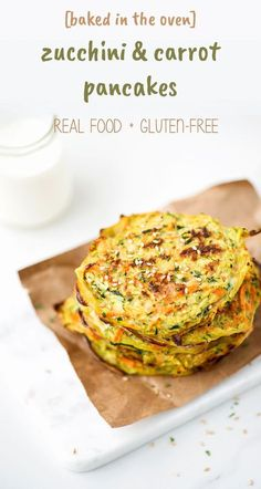 Zucchini and Carrot pancakes made with oat flour and baked in the oven. So easy a toddler can make it!