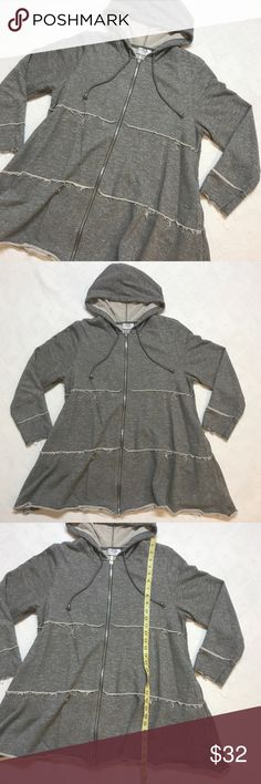 OSO Casuals Knit Zip Front Tiered Hoodie Large OSO Casuals French Terry Knit Long Sleeved Hoodie in Charcoal, heathered cement gray with matching drawstrings, size large, like new condition OSO Casuals Jackets & Coats