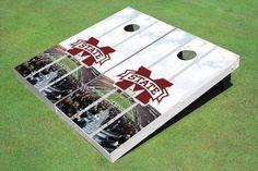 "Mississippi State University """"M"""" Stadium Long Strip Themed Cornhole Boards"