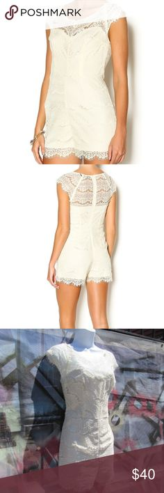 Beautiful Cream Lace Romper This romper is in excellent condition because it has never been worn. I was going to wear it during my wedding weekend but opted for a white mini dress. The lace delicacy is stunning. There is a zipper closure and the romper is fully lined. I typically wear a small but went with the medium because it's a romper and my torso needed more room. I bet adding a belt to this would look dope. Ark & Co Pants Jumpsuits & Rompers