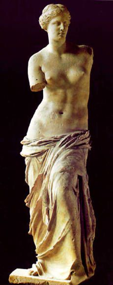 Venus de Milo at the Louvre, Paris.    My grandfather had a replica of this beautiful piece prominently displayed in his house.  It nourished a love of classic sculpture in me that persists to this day.