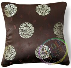 we61a Brown Gold Damask Check Chenille Throw Pillow Case//Cushion Cover*Cust Size
