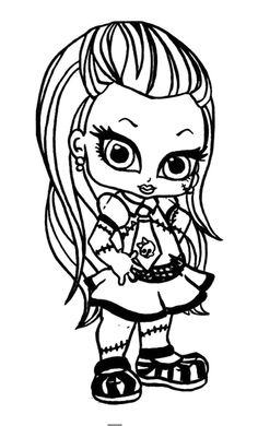 Monster High Bonded Hair Two Coloring Pages - Monster High cartoon ...