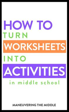 When your middle school students are tired of worksheets make them more fun by turning them into activities. Check out t Middle School Activities, Middle School Classroom, Middle School Science, Science Classroom, Math Activities, Math Teacher, Teaching Math, Simple Math, Easy Math