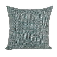 Teal, White and Navy Woven Indoor/Outdoor Throw Pillow