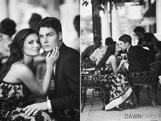 Black and White Engagements - Cafe