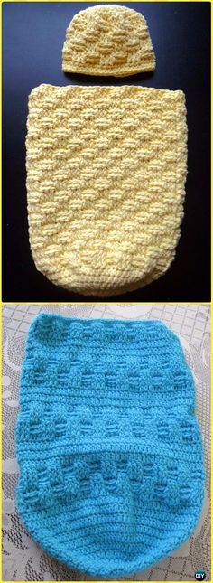 Knitting Patterns Sleep Sack Crochet Basket Weave Sleep Sack and Cap Free Pattern - Crochet Snuggle Sack & Cocoon Free Patterns Crochet Baby Cocoon Pattern, Baby Knitting Patterns, Baby Patterns, Crochet Patterns, Crochet Ideas, Crochet Projects, Crochet Bebe, Crochet Baby Booties, Crochet For Kids