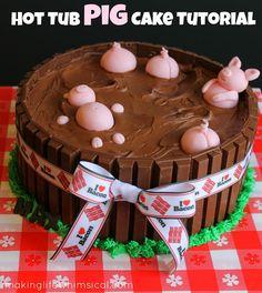 Hot Tub Pig Cake {Tutorial} www.makinglifewhimsical.com