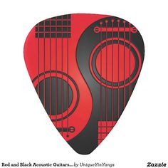Guitarras acústicas rojas y negras Yin Yang Plectro