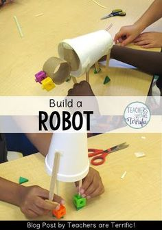 STEM Challenge for first graders! They build a robot after reading a book! Science Topics, Stem Science, Science Fair, Science Fiction, Stem Classes, Building For Kids, Team Building, Building Games, After School Club