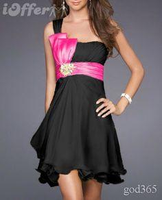 robe noir ceinture fushia