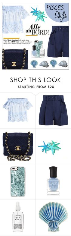 """""""PISCES MOOD"""" by taliafzl ❤ liked on Polyvore featuring Sea, New York, Chanel, Casetify, Deborah Lippmann, Herbivore, Juliska, StreetStyle, Blue, beachoutfit and Pisces"""