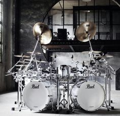 Pearl and Sabian. Double Bass Drum Set, Root Image, Pearl Drums, Dope Music, Drum Kits, Music Stuff, So Little Time, Heavy Metal, Acoustic