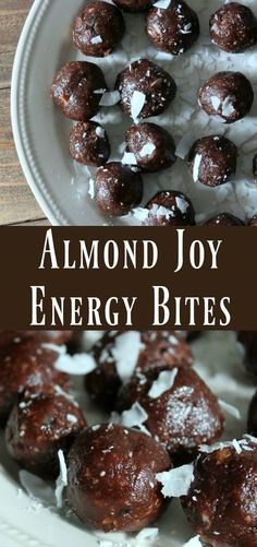 Medjool Dates processed together with chocolate, almonds, and coconut to create this delicious almond joy inspired energy bite. Healthy make-ahead snack recipe Protein Bites, Protein Snacks, Protein Cookies, Protein Ball, Healthy Protein, Healthy Cookies, High Protein, Healthy Sweet Snacks, Healthy Treats