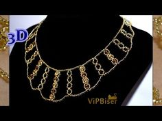 Sparkly Gold Beaded Necklace. 3D Beading Tutorial - YouTube