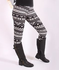 Another great find on #zulily! Black & Gray Geometric Stripe Leggings #zulilyfinds