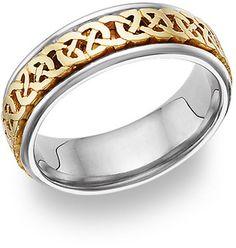 ApplesofGold.com - Caer Celtic Knot Wedding Band, 14K Two-Tone Gold, $875