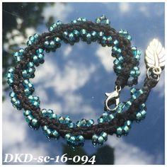 Stack wavelet bracelet handdyed black silk by DutchKnittingDesign