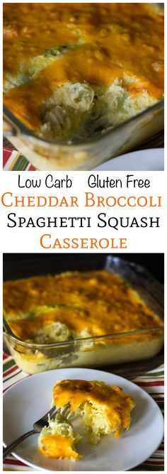 Try this warm low carb and gluten free cheddar broccoli spaghetti squash casserole as a side or main course dish. It takes little time to prepare the dish! LCHF Keto Banting THM - I would use greek or non-dairy yogurt in place of the sour cream. Spaghetti Squash Casserole, Courge Spaghetti, Veggie Recipes, Low Carb Recipes, Vegetarian Recipes, Cooking Recipes, Diet Recipes, Gastronomia, Sweets