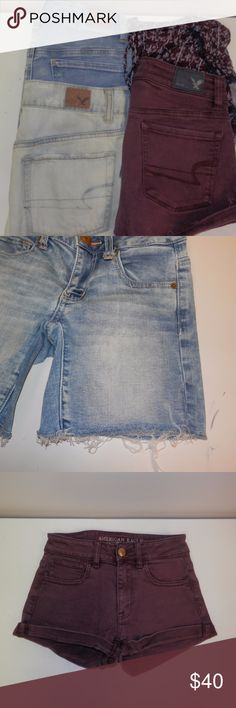 Lot of 4 Sz 00 XS American Eagle Forever 21 Shorts 4 pair of shorts Includes: American Eagle maroon shorts sz 00 American Eagle acid wash distressed denim jeans sz 00 American Eagle medium wash denim jeans sz 00 Forever 21 shorts w/lace trim sz XS All in good condition American Eagle Outfitters Shorts