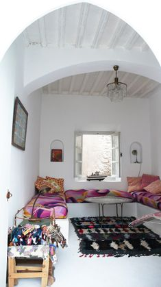 Moroccan boucherouite rug in a location house in Essaouira Morocco. https://www.etsy.com/shop/bringyourownsunshine