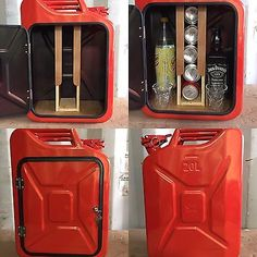Upcycled Jerry Can Mini Bar, Picnic, Camping, Recycled, New Can, Red