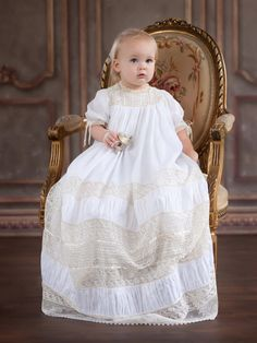 Gorgeous Juliana in her Christening gown design by Mela Wilson Heirloom Children's Clothing.