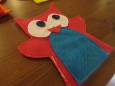 Pink and blue owl felt hand puppet.