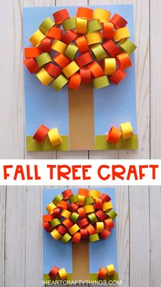 Beautiful Craft Fall Kids Tree Celebrate the gorgeous red, yellow and orange colors of the fall season by making this easy fall tree craft. Simple fall craft for kids of all ages to enjoy making. Head to our website for the full hot to tutorial for Fall Paper Crafts, Fall Crafts For Kids, Paper Crafting, Art For Kids, Craft Kids, Kids Diy, Diy Paper, 3d Craft, Summer Crafts