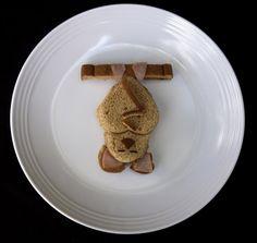Bat-shaped ham and cheese sandwich