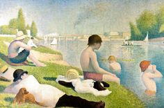 Georges Pierre Seurat - Bathers at Asnieres, 1884 at the National Gallery London - I saw it, &like it a lot! The painting is quite big