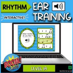 BoomLearning.com - Amazing authors make awesome learning content! This BOOM deck is a fun way to get your music students excited about practicing rhythm ear training. Included is a BOOM deck with 25 cards for game play. Included rhythms are beamed eighth notes, quarter notes, quarter rests, half notes, and half rests. Perfect for beginner musicians! If you are new to BOOM cards, welcome! They are compatible with Google Classroom, and may be used with computers, tablets, Chromebooks, and… Rhythm Games, Music Games, Music Activities, Classroom Activities, Student Login, Reading Music, Elementary Music, Music Theory, Music Lessons