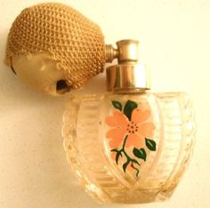 Vintage Devilbiss Painted Flower Art Deco Style Atomizer Perfume Bottle