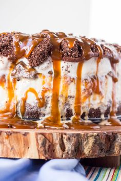 Salted Chocolate + Caramel Ice Cream Cake is BONKERS DELICIOUS and EASIER than you might think!