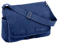 messenger bag classic messenger bag blue $27.08 heavyweight canvas bag. 15 x 11 x 6 inches. top selling, classic messenger is great for all ages - men and women - boys and girls. now in blue. adjustable shoulder strap is two inches wide. generous main compartment will hold tons of stuff. inside zipper pouch. three outside pockets. Great Back to School Backpacks