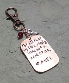 "Angel Memorial Keychain Charm - ""For All That We Love Deeply Becomes a Part of Us"" - Helen Keller Quote * Check out the image by visiting the link."