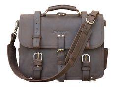 Selvaggio Handmade Full Grain Leather Briefcase - Vintage Dark Brown