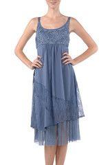 A'reve Blue Mixed Fabric Sundress