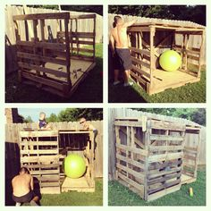 """Pallet Fort- made a fort for the boys with 4 pallets, 4 planks and 3"""" screws. Knocked out a couple slats on the side walls to create windows, and crossed 2 of the planks across the back for increased stability. Two other planks were used across the top as added support for the roof. Now to paint """"No Girls Allowed"""" across the front (: pallet playhouse DIY sooo easy!"""