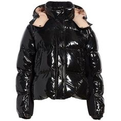 Women's Moncler Gaura Shiny Down Quilted Puffer Coat (€1.470) ❤ liked on Polyvore featuring outerwear, coats, jackets, black, down filled coat, puffer coat, moncler, moncler coat and shiny coat