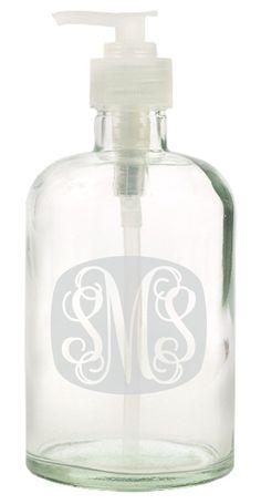 etched glass monogram soap dispenser 135 fl oz by
