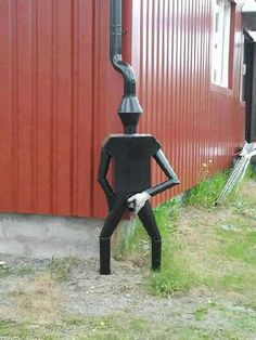 30 Amazing Downspout Ideas, Splash Guards, Charming Rain Chains and Creative Rain Ropes--hysterical--if you don't mind your downspout getting arrested for indecent exposure....lol!