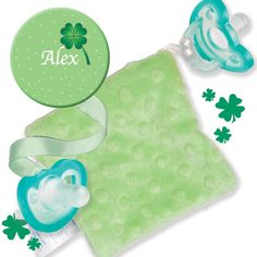 Baby can be wearing the green with this lucky personalized clip, Cuddle Square and JollyPops!