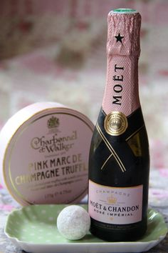 Pink Marc de Champagne Charbonnel et Walker Truffles with Moët et Chardon Rosé Imperial Champagne - lovely addition to any girls night in. Image ©ArtfullyAdored - www.artfullyadored.com