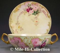 LIMOGES FRANCE HAND PAINTED ROSES & JEWELS BOUILLON CUP & SAUCER