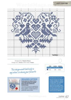Quaker style heart free cross stitch pattern